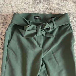 Loft Green Capri Dress Pant with Bow